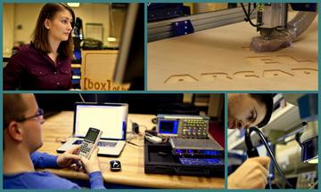 image collage, students using think[box] tech