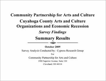 Cuyahoga County Arts and Culture Organizations and Economic Recession