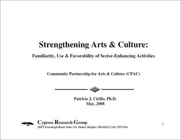 Strengthening Arts and Culture