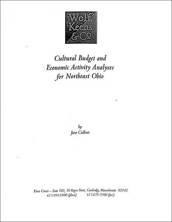 Cultural Budget and Economic Activity Analyses for Northeast Ohio